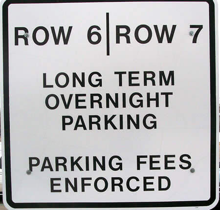 Long Term Parking - Indicated on Signs